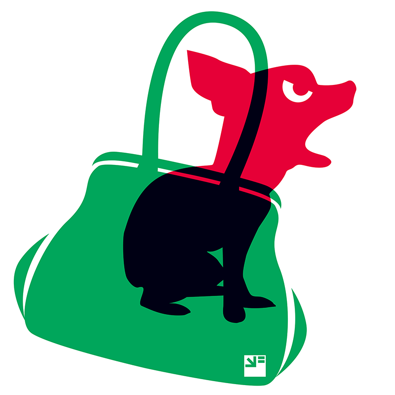 Angry Animals: chihuahua in little green bag by VrijFormaat