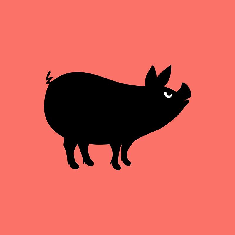Angry Animals - pig design by VrijFormaat
