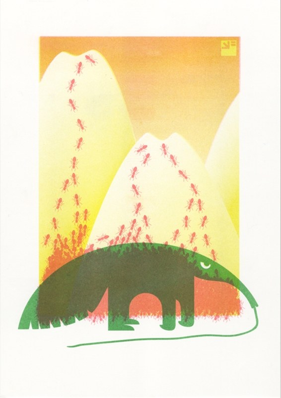 A4 risograph print of Angry Animals Anteater in red, green and yellow