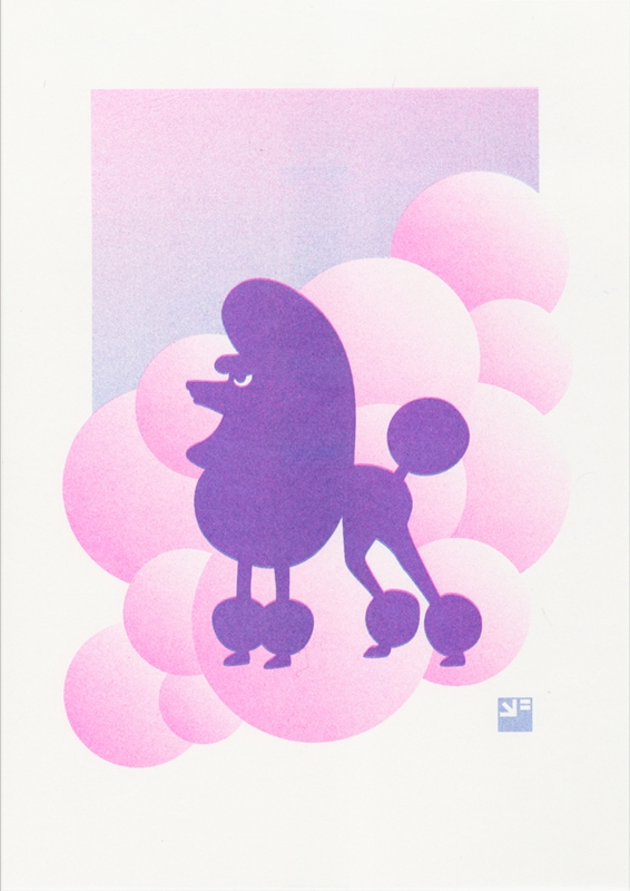 A4 risograph print of Angry Animals French Poodle on Thundercloud 9 in pink and blue