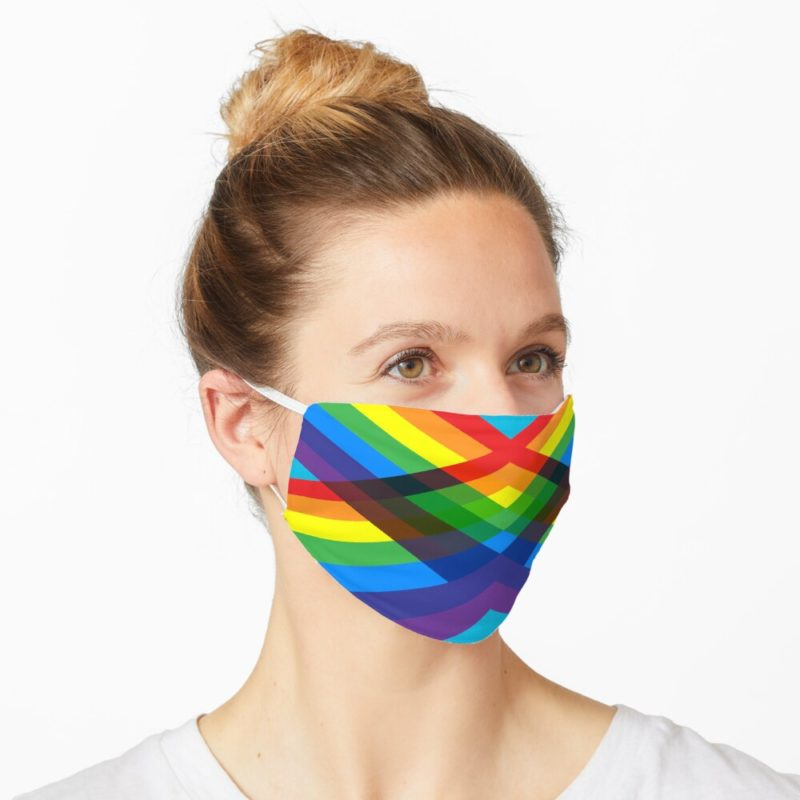 Redbubble facemask with crossing rainbows design by VrijFormaat