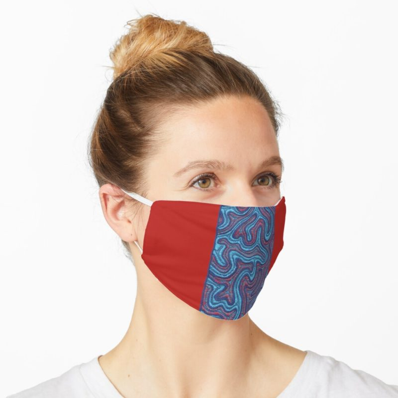Redbubble facemask with Stitches - Coral design by VrijFormaat