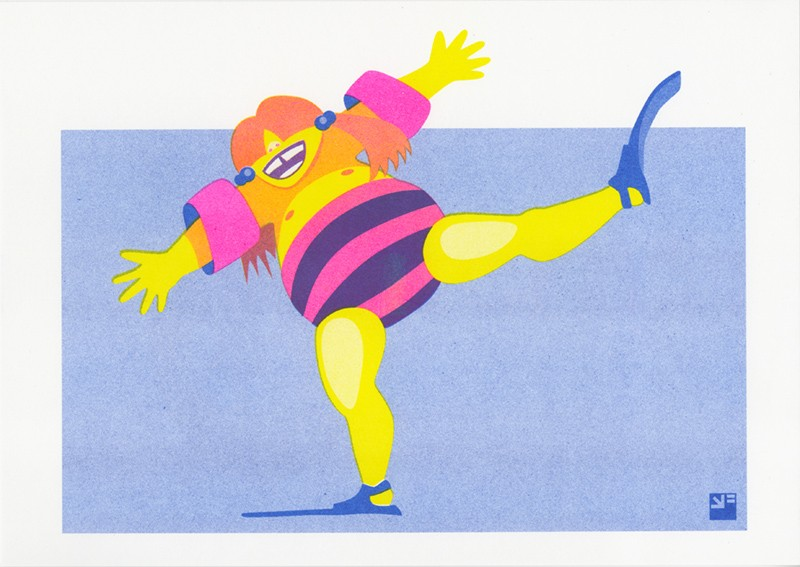 risograph print At the Beach - Happy Flippers ©VrijFormaat