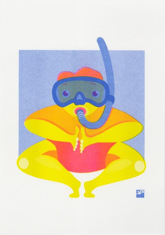 risograph print At the Beach - Test dive ©VrijFormaat