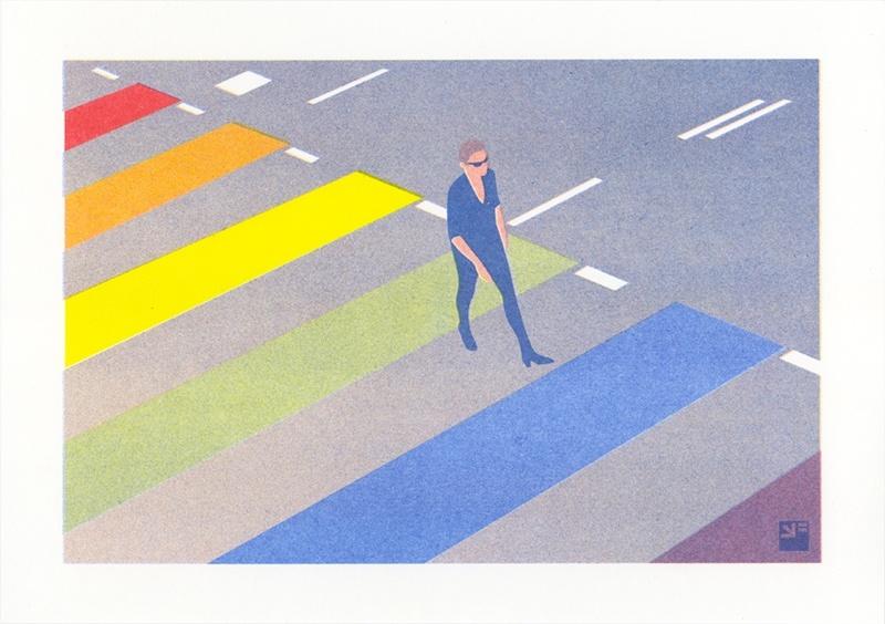 riso print van het regenboogzebrapad in Utrecht ©VrijFormaat